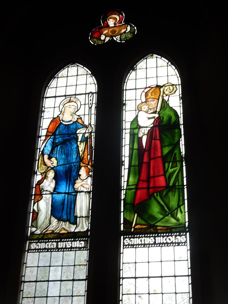 Burne-Jones windows, St Mary's Speldhurst Christopher and Ursula, Ashurst to Eridge