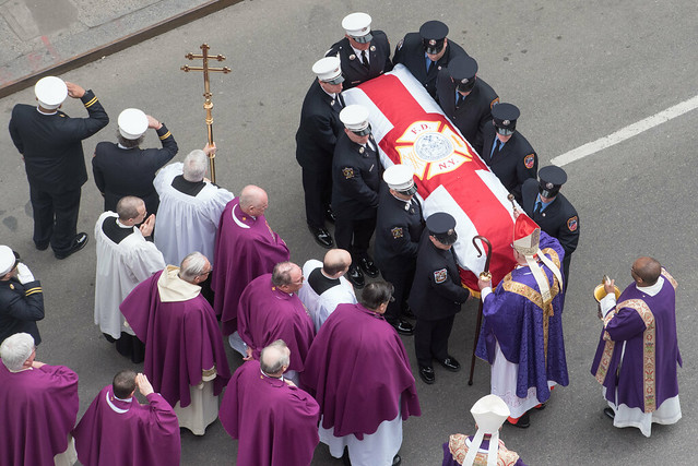 Funeral for FDNY Lieutenant Michael R. Davidson at Saint Patrick's Cathedral.