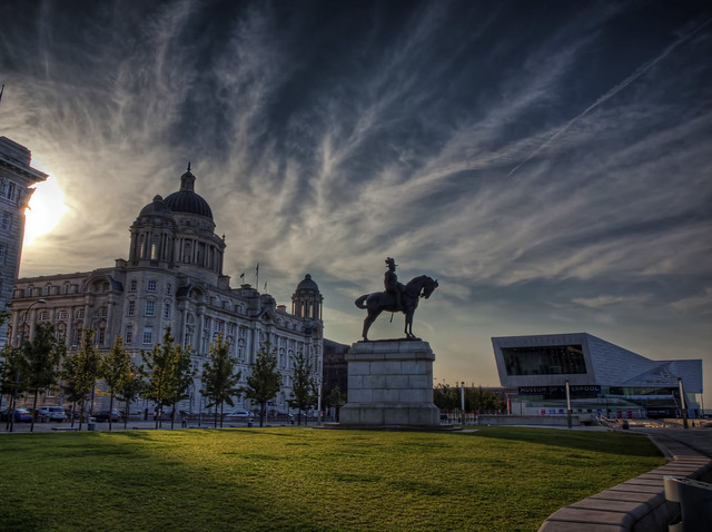 King George and the Customs Building at dawn in Liverpool