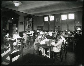 Students studying in the reading room of Carnegie Library, circa 1951