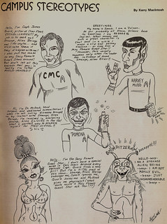 """TSL cartoon of """"Campus Stereotypes,"""" identifying various colleges with characters on the TV series Star Trek"""