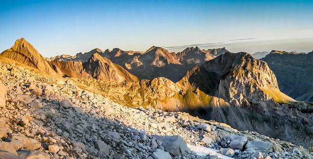 Sunrise - high Pyrenees panorama at pico Aneto routed