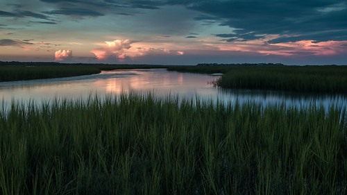 sky clouds coast marsh sunset