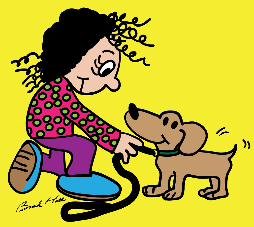 Copyright Free Cartoon Of A Little Girl Putting A Leash On Flickr