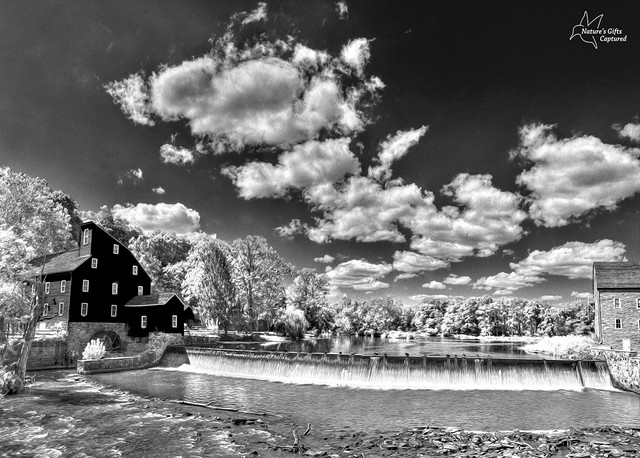 Red Mill  Clinton NJ Panorama B&W