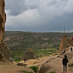 The view from Selime Cathedral built into a hillside in Cappadocia