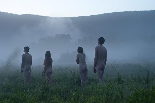 mist cold fog tattoo sunrise naked nude dew grassyfield conecticut norfolkct nikond90 yalenorfolk abandonedfairgrounds