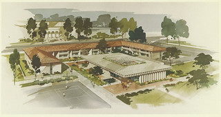 An early architectural conception of the Oldenborg Center at Pomona College, built in 1964