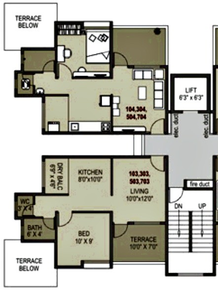 1BHK Flat - 390 Carpet + 70 Terrace - Rs  17 14 Lakhs - Pr