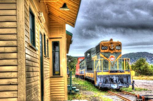 thenewfiebullet train clarenville station autumn bay canada colours newfoundland old peninsula bonavista scenic sky trinity railway