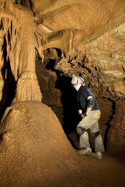 Flowstone column, Cooper Dawson, Crownover Saltpeter Cave, Franklin Co, TN