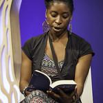 Irenosen Okojie   The First Book Award nominee reads from her astonishly assured debut novel © Robin Mair