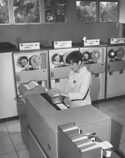 Pomona's computer lab with the new IBM System/360 computer in 1966