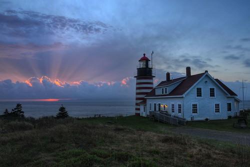 ocean lighthouse sunrise nikon maine rays polarizer hdr circular sunbeams photomatix tonemapped westquoddylighthouse nikond90 westquoddyheadlight