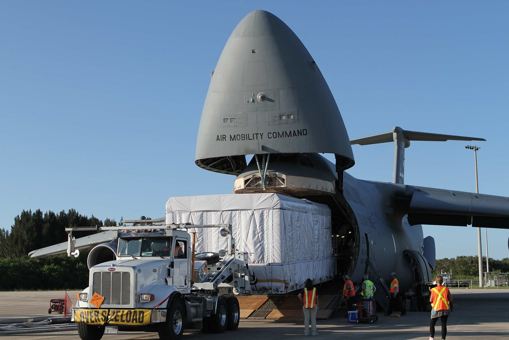 GOES-S arriving at Kennedy Space Center in Florida aboard a U.S. Air Force C-5M