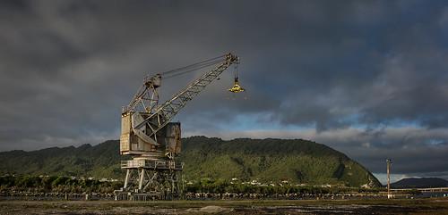 cobden geo:lat=4244770087 geo:lon=17120471124 geotagged greymouth newzealand nzl westcoast cable crane sunset industrial harbour hill green sky cloud west coast new zealand south island