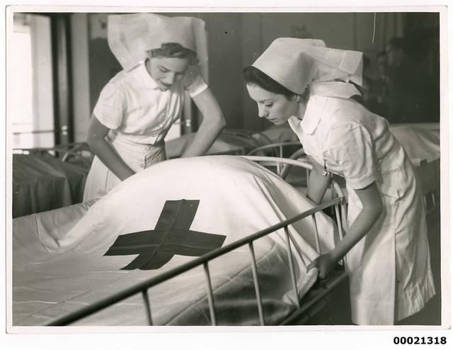 Two nurses on board hospital ship TSS ORANJE II, June 1941