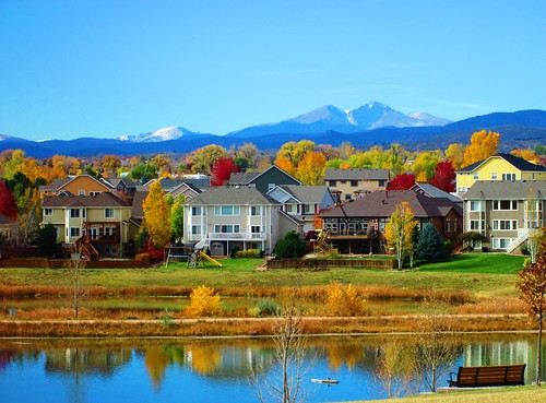 lake mountains color reflection fall nature water colors beautiful canon buildings bench landscape photography photo colorado colorful picture fortcollins canonpowershot canona2300