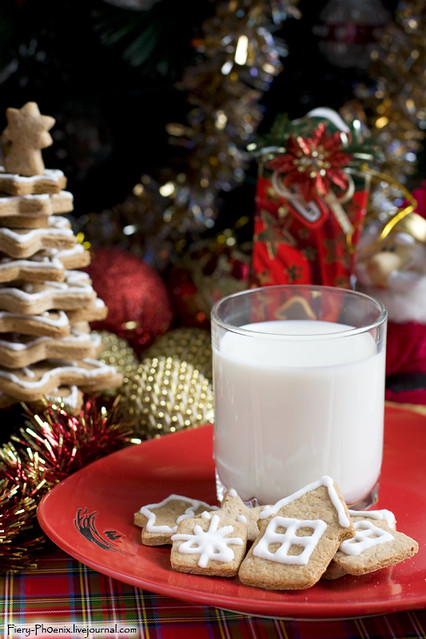 Christmas gingerbread with milk