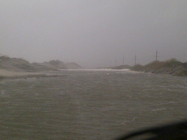 Flooding on N.C. 12 South of Oregon Inlet