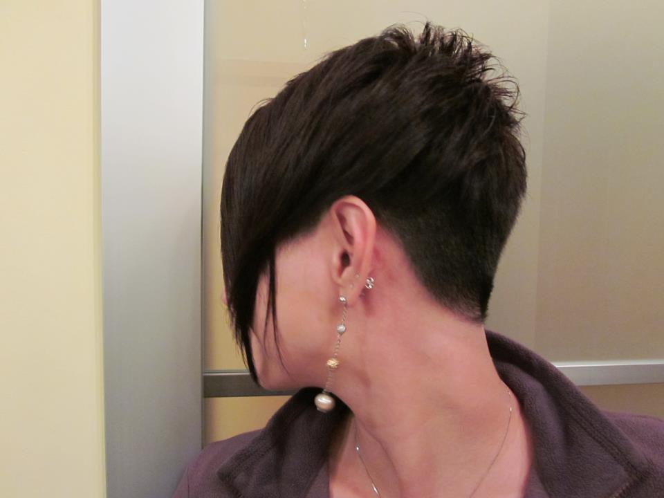Assimetric Short Haircut With Buzzed Nape