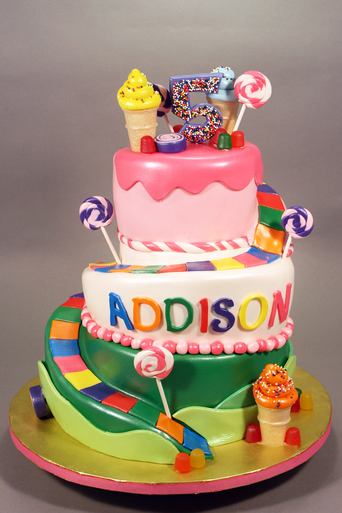 Candyland theme 5th Birthday cake | Decorated in fondant and… | Flickr