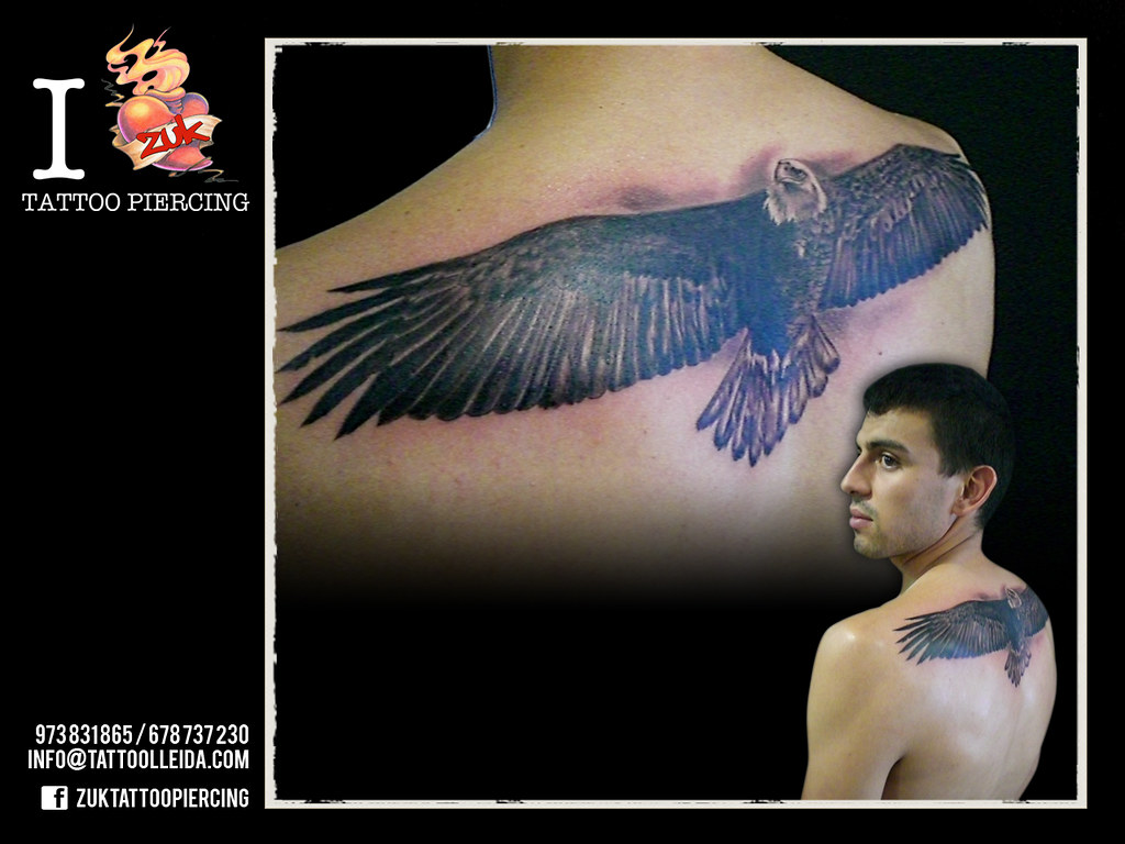 Aguila En La Espalda tatuaje-aguila-espalda-zuk-lleida | tatuaje realista de águi