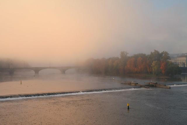 Prague. Sunrise fog on Vltava river