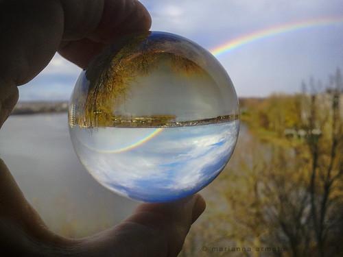 light sky distortion reflection ball landscape rainbow crystal sphere r mariannaarmata
