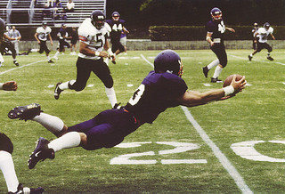 Pomona-Pitzer won the annual Drum contest against Occidental College in 1999, 28-0. In the photo, wide receiver Matt LaCoss PI '01 makes a diving catch of a pass from quarterback Brian Ferrettte '01.