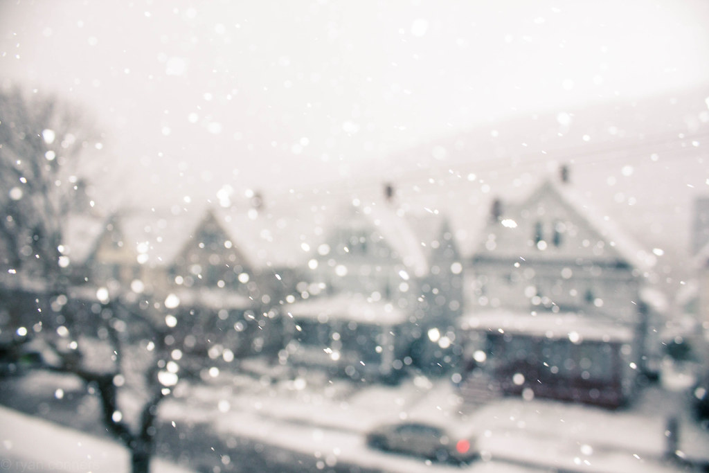 The snow falls silently