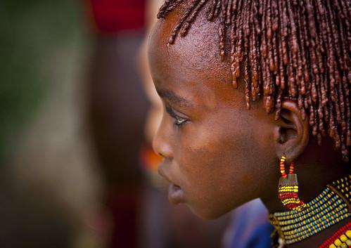 Maze Hamar Tribe Whipper And Girl, Turmi, Omo Valley