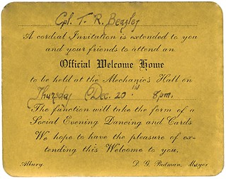 20 Dec 1945 - Australian Army Cpl Thomas Robert Beazley's WW2 Welcome Home invitation by the Mayor of Albury, NSW, Australia