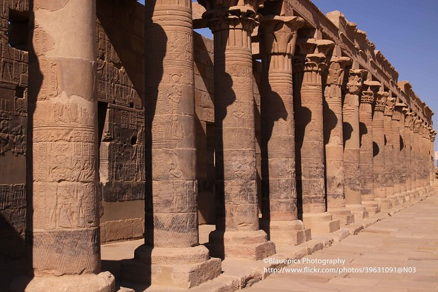 Philae, Temple of Isis, gallery at the entrance - Explore