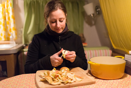 Tara Chopping Apples for Apple Crumble in our Camper | by goingslowly