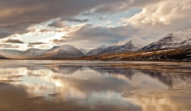River Eyjafjarðará and the reflections.