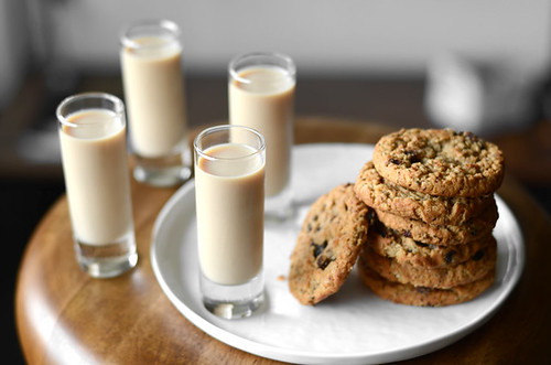 4 oatmeal cookie shots and cookies stacked on plate | by PersonalCreations.com