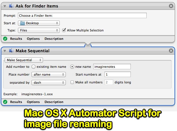 Mac OS X Automator Script for image file renaming | Uploaded