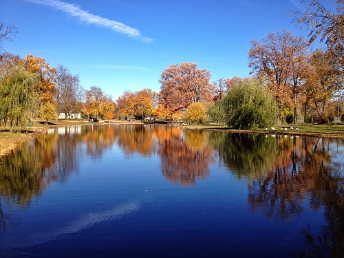 park autumn reflection fall water mi river landscape october day michigan foliage 2012 iphone coldwater 517 waterworkspark branchcounty iphoneography iphone4s laurenpaljusaj pwpartlycloudy