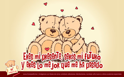 Linda Tarjeta De Amor Con Ositos Enamorados Y Frase De Amo