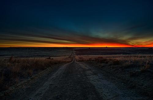 road nature sunrise landscape dawn nikon colorado dirt co bluehour larimer twotrack clff d700