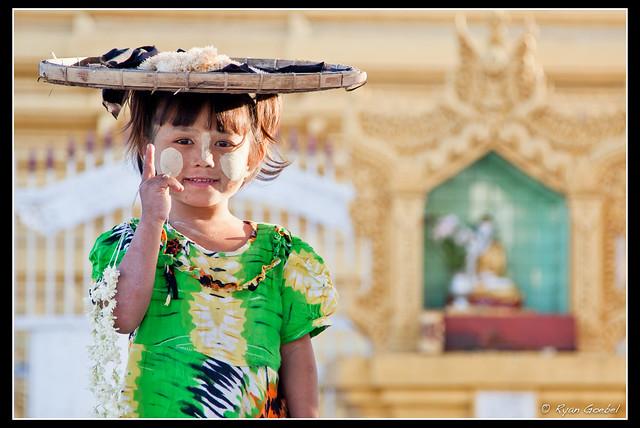 The Cutest Flower Seller in Burma