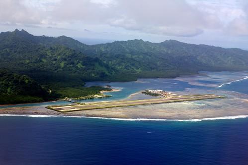 ocean blue sea mountains water island inflight airport terminal apron reef runway micronesia ksr kosrae islandhopper federatedstates