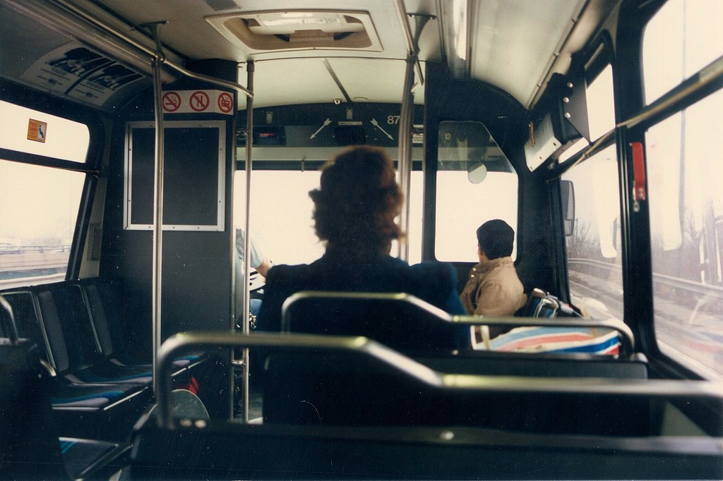 Interior view inside a Pace 40 foot Orion transit bus  Mc