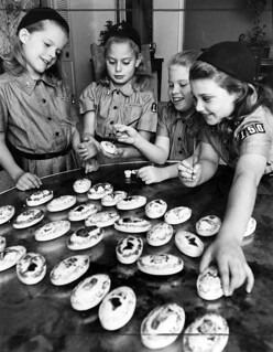 Brownie Scouts GSA painting soap bars to look like Easter Eggs in 1963 Los Angeles, CA