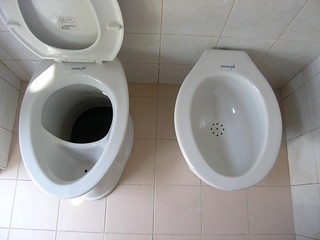 Ceramic UDDT and wash bowl in private household
