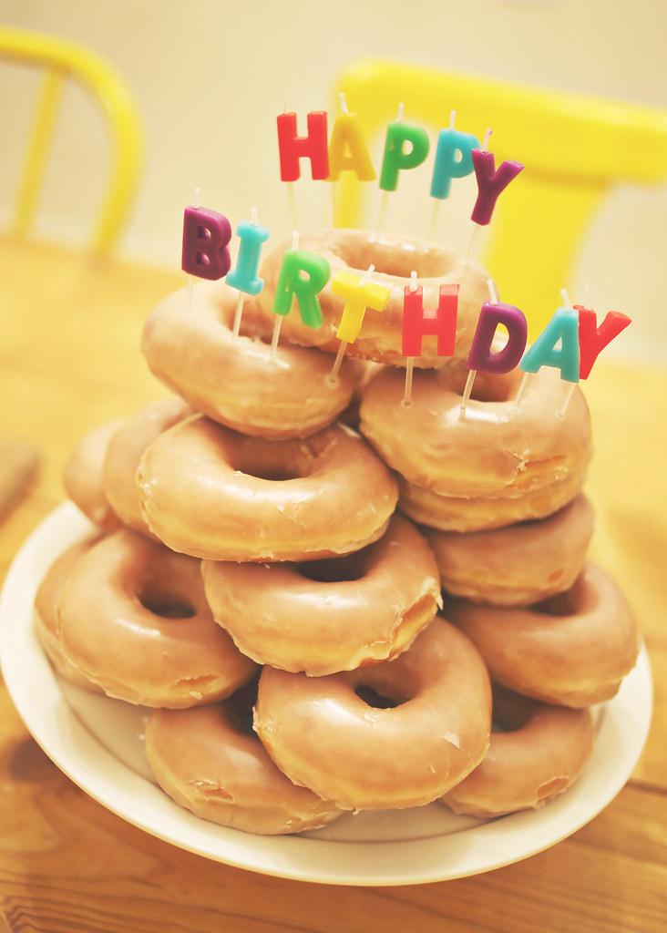 Sensational Donut Birthday Cake Elsie Larson Flickr Personalised Birthday Cards Paralily Jamesorg