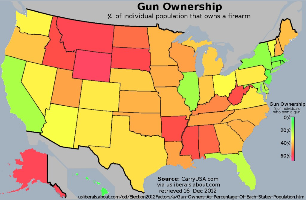 Us Map Of Gun Ownership Rates Of The Population That Own Flickr - Population-us-map