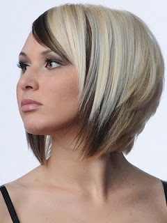 Blonde Hair Black Streks Design Short Shoulder Length Hair