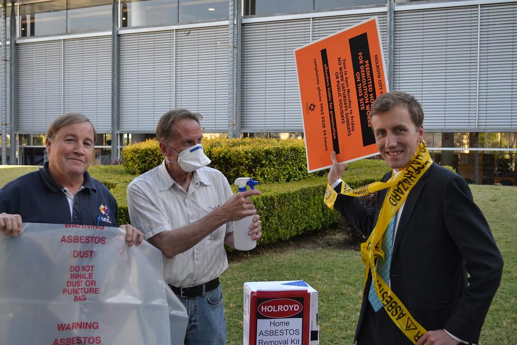 Holroyd Mayor Ross Grove promoting Asbestos Awareness Training with Councillors Greg Cummings and Peter Monaghan